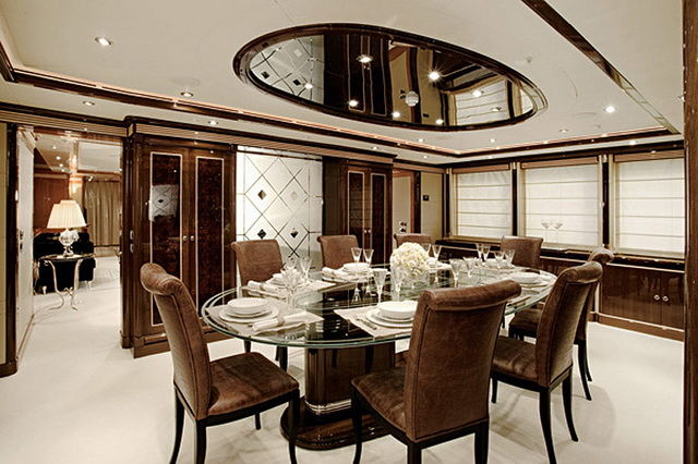 Brown and white dining room
