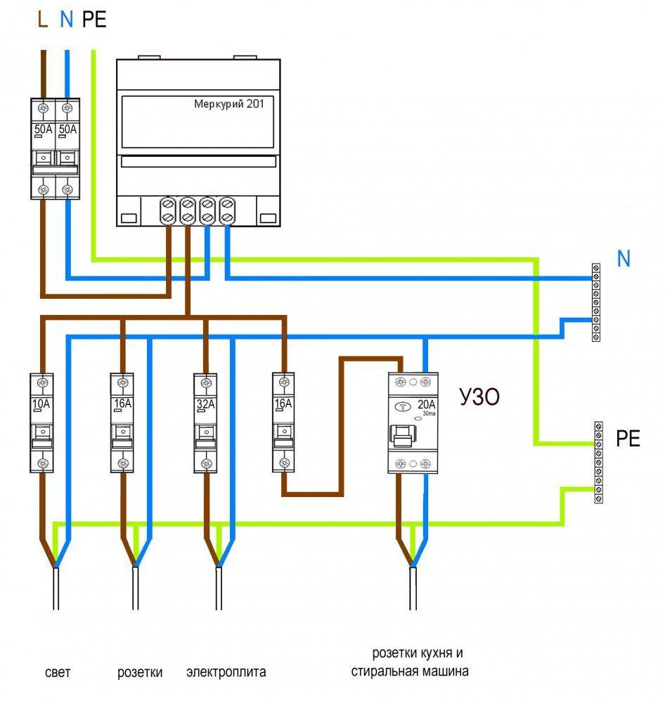 электросчетчик меркурий 3х фазный схема