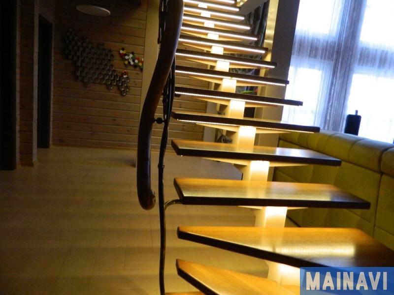 Подсветка ступеней лестницы — фото