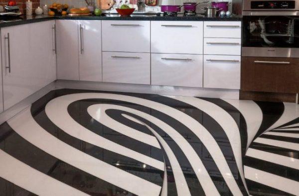Покрытие 3д на кухонном полу