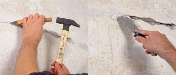 Расшивка и грунтовка и трещины на стене