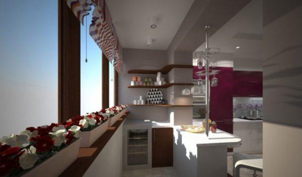 Совмещение лоджии с кухней