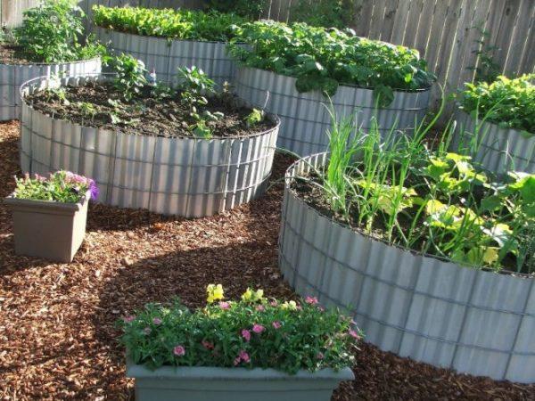 Ограда для грядок из шиферных листов