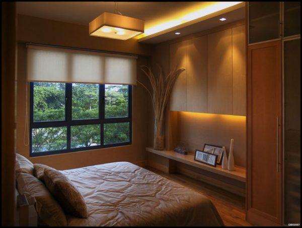Точечное приглушенное освещение в спальне