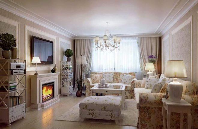 Дизайн гостиной с камином