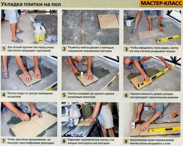 Как положить плитку на кухне на пол своими руками: порядок работ, фото