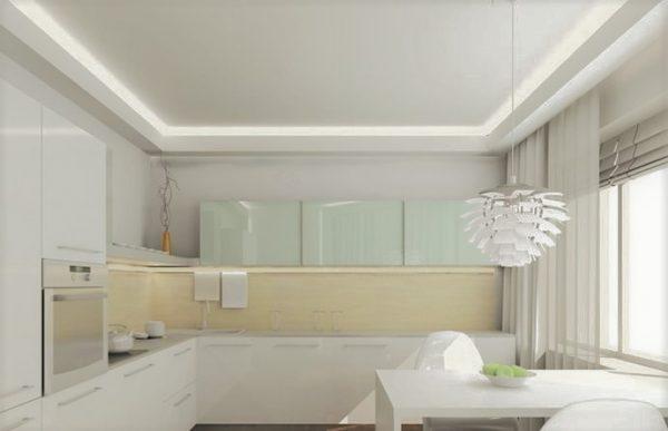 Подвесной потолок с подсветкой на кухне