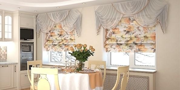 Комбинированное оформление кухонного окна