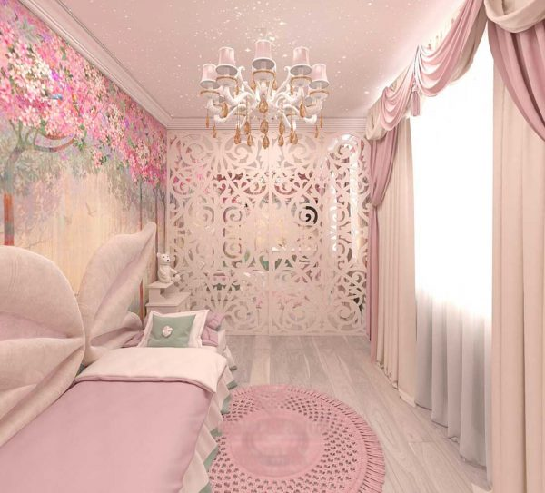 Ламбрекены в элегантном интерьере спальни