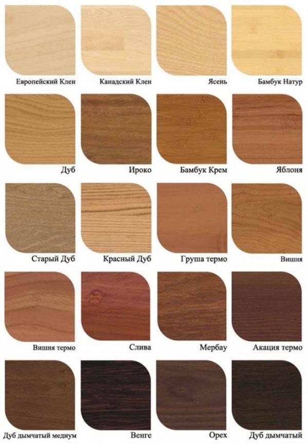 Различные породы древесины для паркета