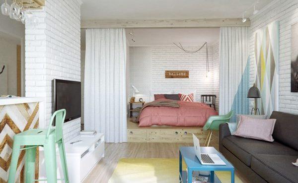 Спальня за занавеской