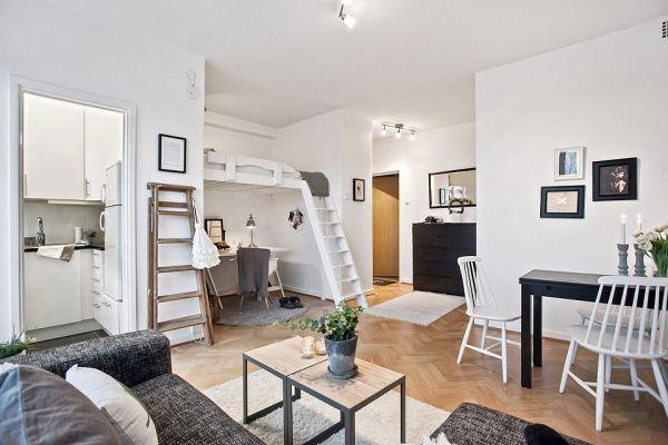 Планировка светлой квартиры-студии