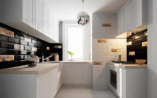 Облицовка стен и пола на кухне керамической плиткой
