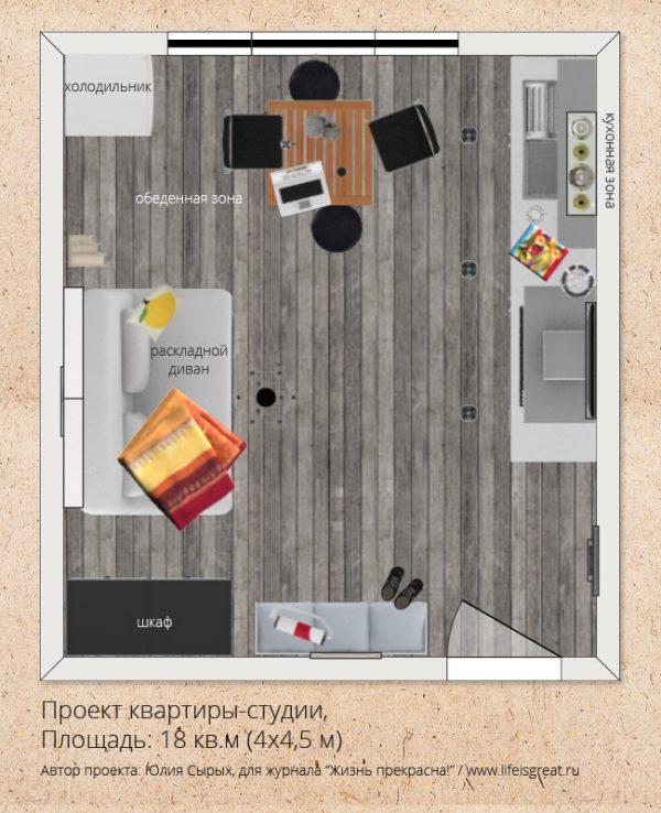 Проект площади 18 кв м