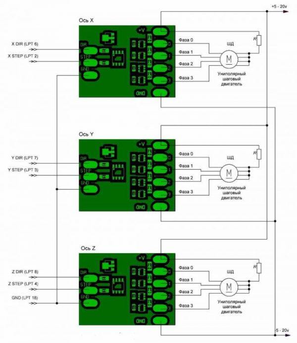 Схема подключения ЧПУ