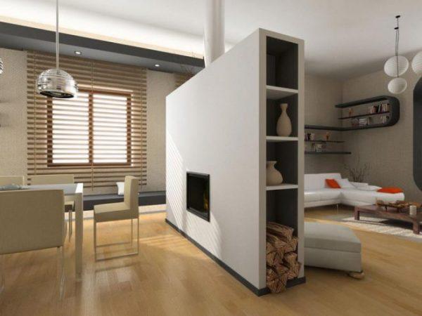 Гипсокартонная перегородка для разделения функциональных зон в гостиной