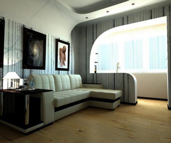 Совмещение балкона и гостиной перегородкой из гипсокартона