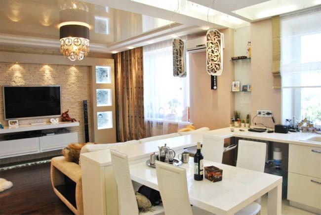 Дизайн кухни-гостиной с зонированием на 20 кв. м