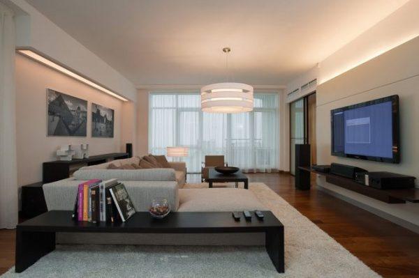 Дизайн проходной гостиной в современном стиле
