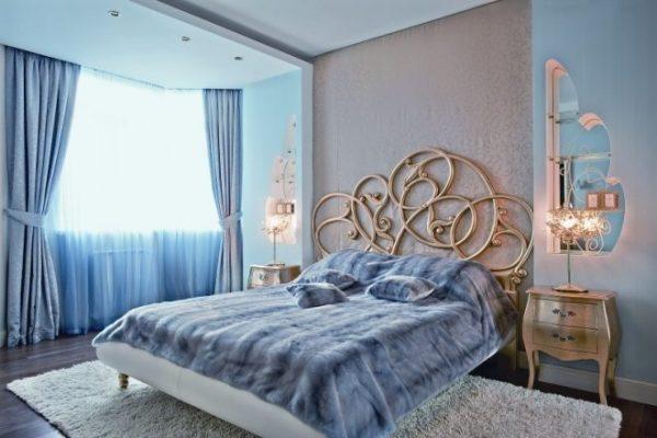 Спальня в многоэтажке с подвесными потолками