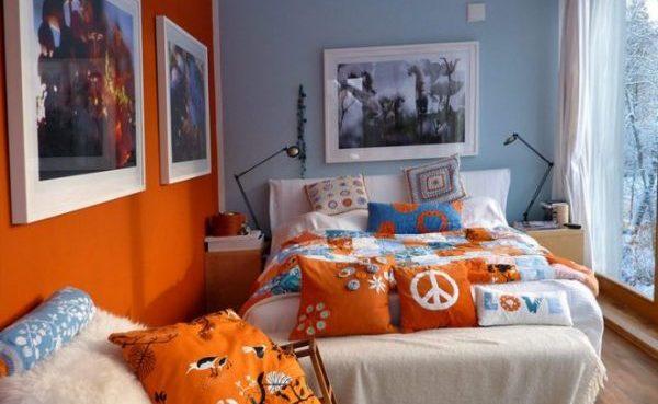 Оранжевый с голубым