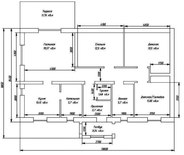 Проект одноэтажного дома на три спальни - до 150 кв м