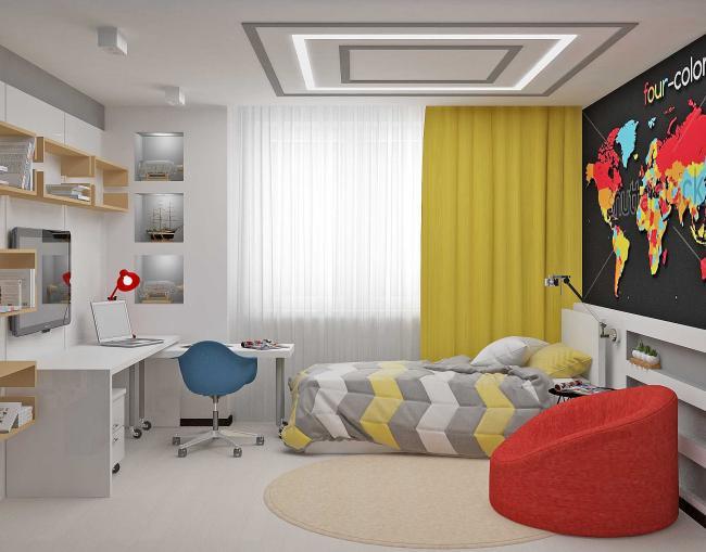 дизайн комнаты в современном стиле на 12 квм