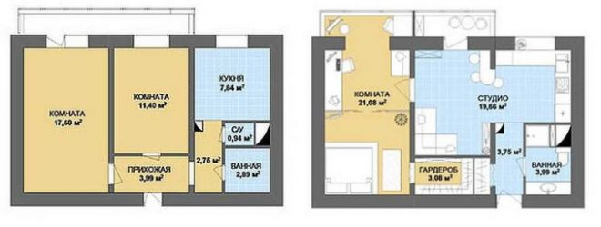 Перепланировка в 2-комнатной квартире: варианты проектов и особенности процесса