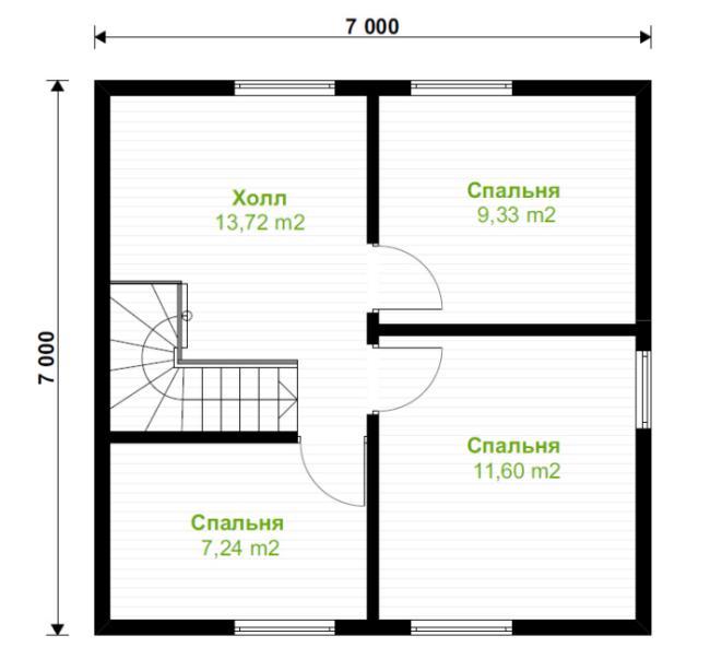 Двухэтажный дом 7 на 7 метров: правила и варианты планировки