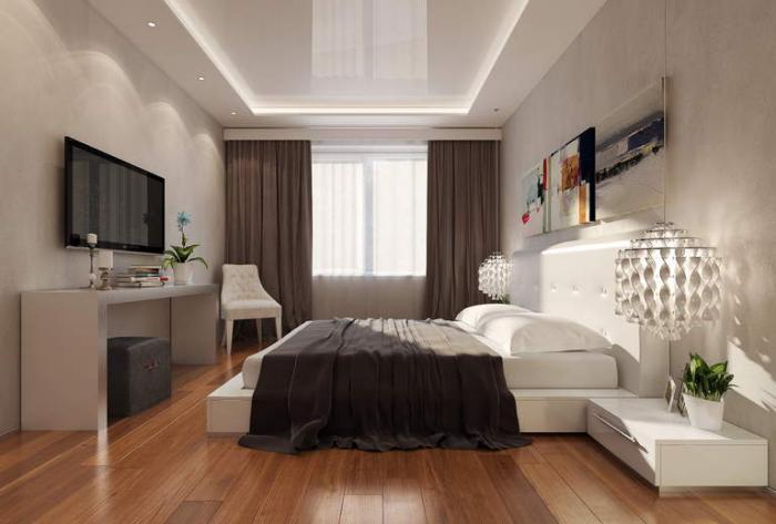 Дизайн натяжного потолка для спальни