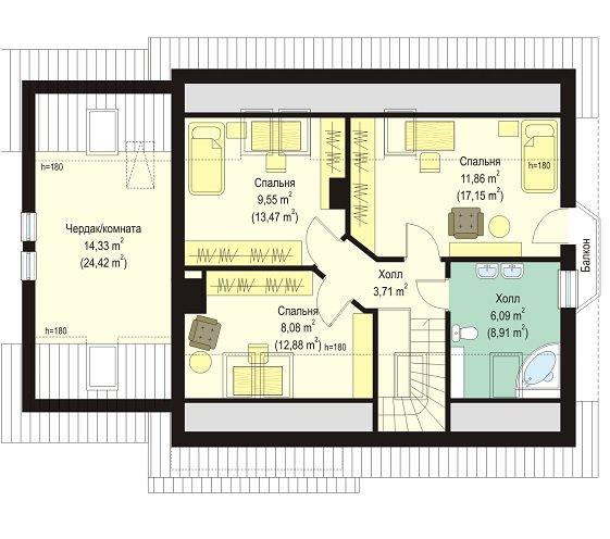 Проекты домов с мансардой до 120 кв м