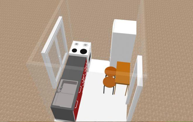 Планировка кухни 5 кв. с холодильником