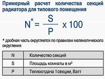 Расчет количества секций биметаллического радиатора