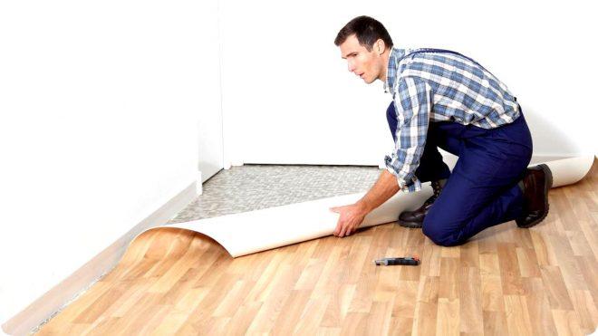 Стелим линолеум на бетонный пол