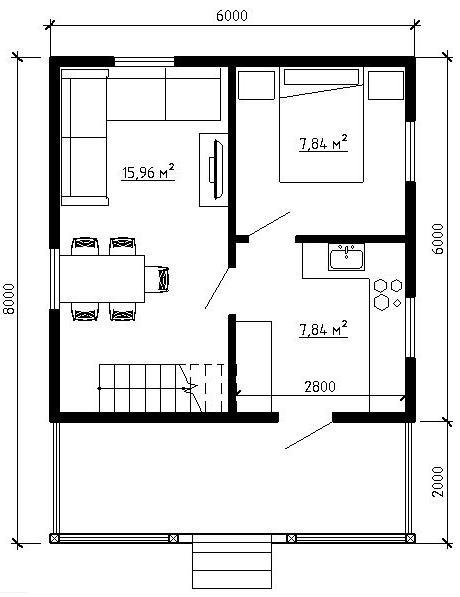Планировка дома 6*8 с мансардой