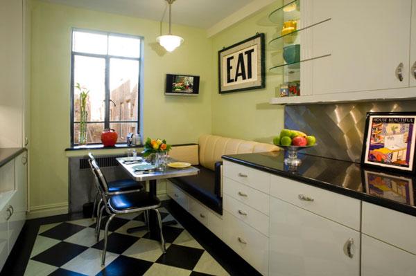 Интерьер кухни 12 кв. с диваном