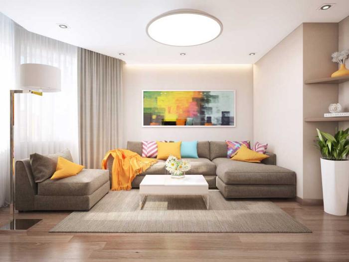 Дизайн современной гостиной на 16 кв. м