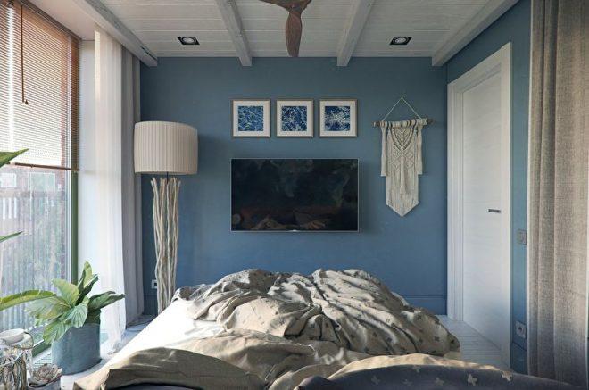 Дизайн спальни 10 кв. м. – с двуспальной кроватью и шкафом