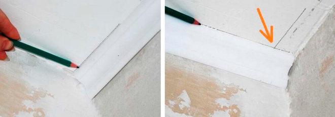 Как точно отмерить и вырезать угол потолочного плинтуса без стусла