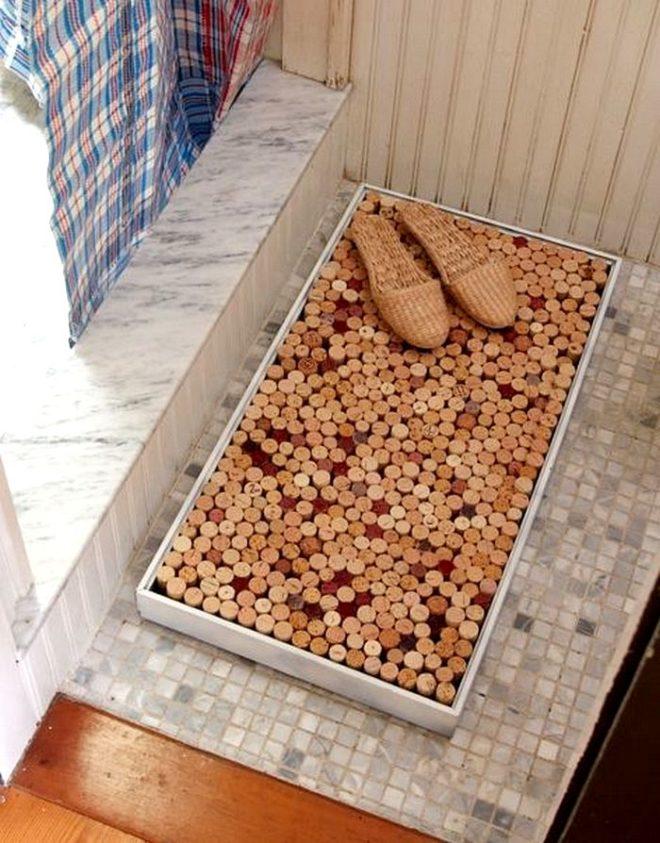 Мягкий коврик для ванной из винных пробок своими руками
