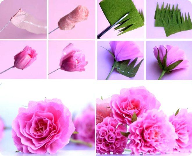 Свадебный, цветы из креппбумаги своими руками