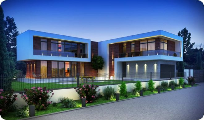 Проекты современных домов в стиле хай-тек с плоской крышей