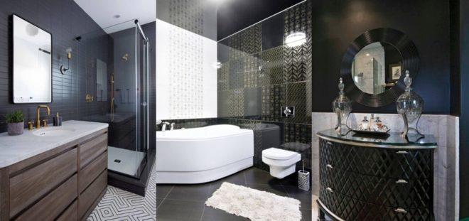 Роскошные современные ванные комнаты в черно-белых тонах