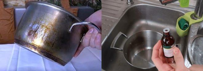 Корвалол для чистки кастрюль - как применять