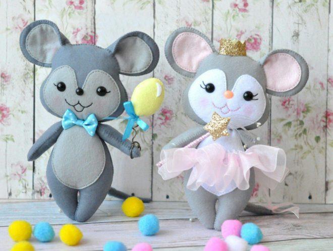 Делаем Мышек из фетра — новогодние поделки