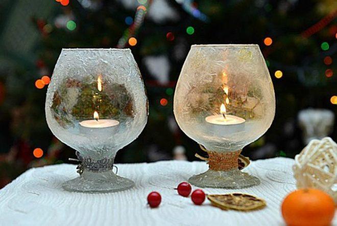 Новогодний подсвечник из бокала - делаем сами