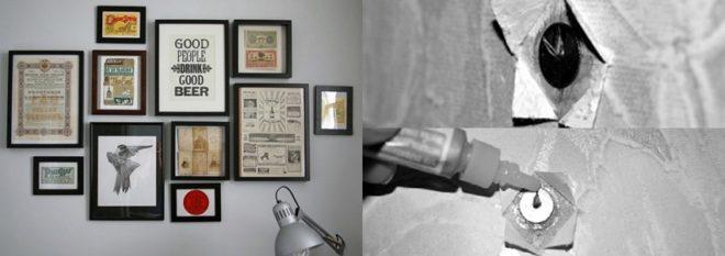 Вешаем картины на стену без гвоздей