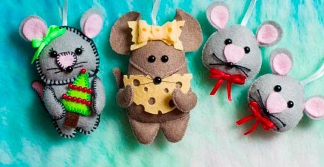 Делаем Мышек из фетра - новогодние поделки