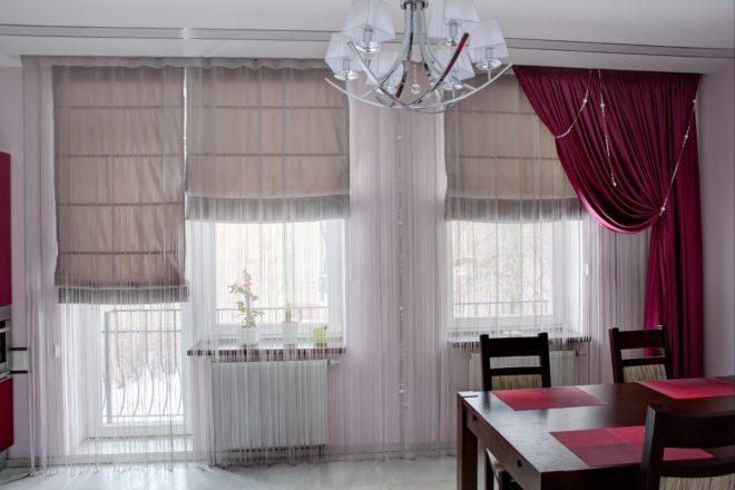 Дизайн римских фотоштор с тюлью на окне