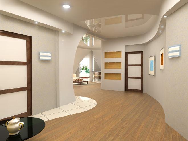 Дизайн потолка в коридоре — новые идеи 2020
